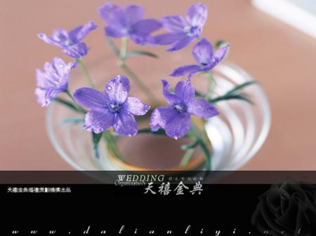 淡紫色的桌花