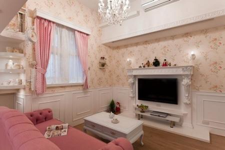 镜框线电视墙造型设计-客厅电视背景墙-情人节最大礼 送她粉色复式婚房